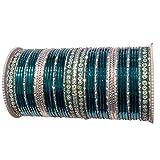 TC Womens Metal Multicolor Silver Bangles Kada Bracelets India Set of 48 Multiple Colors (Teal Blue)
