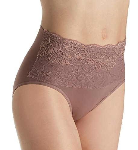 Rhonda Shear Seamless Brief Panty with Lace Overlay (4220) XL/Cocoa