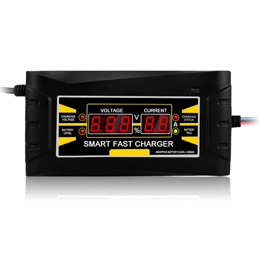 Nrpfell Cargador De Bater/ía De Coche del Enchufe De La UE 12V 6A 10A Inteligente Completo Autom/ático Auto Inteligente De Carga De Energ/ía R/ápida para Pantalla LCD H/úmeda y Seca