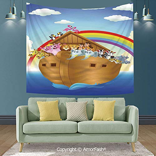 "AmorFash Noahs Ark Wall Decoration in Conference Room,New Launched Tapestry,Wall Hanging,90""x70"",Cute Animals in Noahs Ark Sailing in Sea Ship Old Story Setting Sun Rainbows"