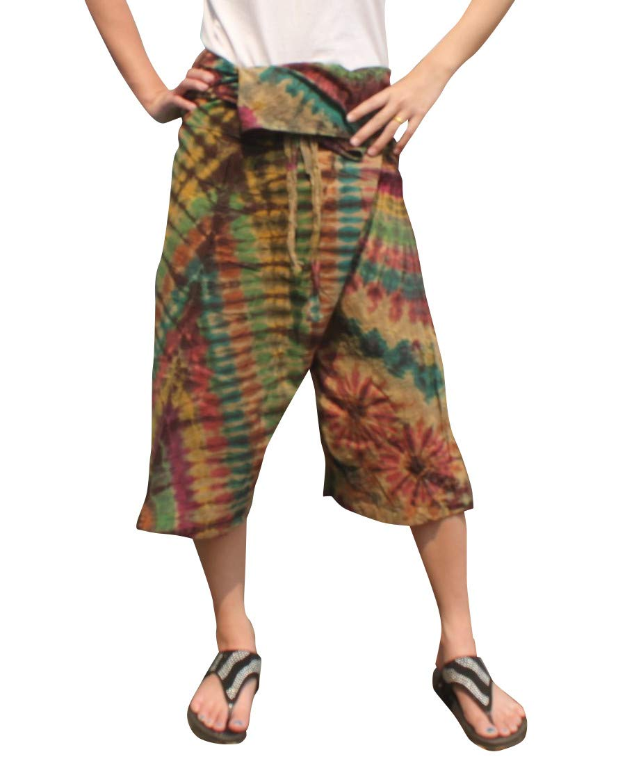 Full Funk Cotton Tie Dyed Natural Colorful Thai Fisherman Wrap 3/4 Leg Pants, Medium, Ecru Brown by Full Funk