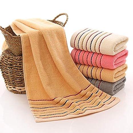 LybMaoJ Toalla Toalla de algodón de Siete segmentos con Cinta Textil de Color sólido, Beige, 72 * 32 cm, Set of 2: Amazon.es: Hogar