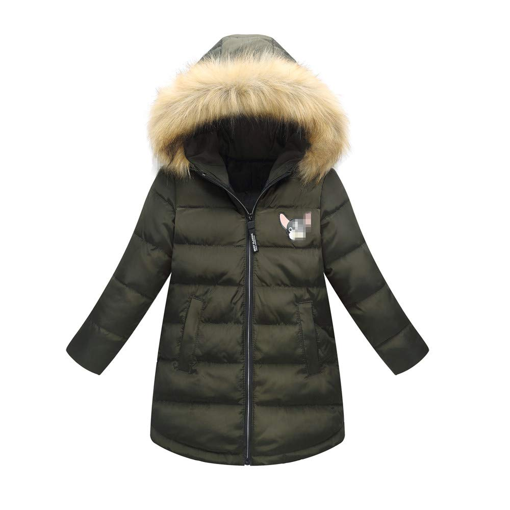Kid Girl Winter Hooded Fur Down Coat Big Girls Outerwear Jacket (7-8Years, Olive)