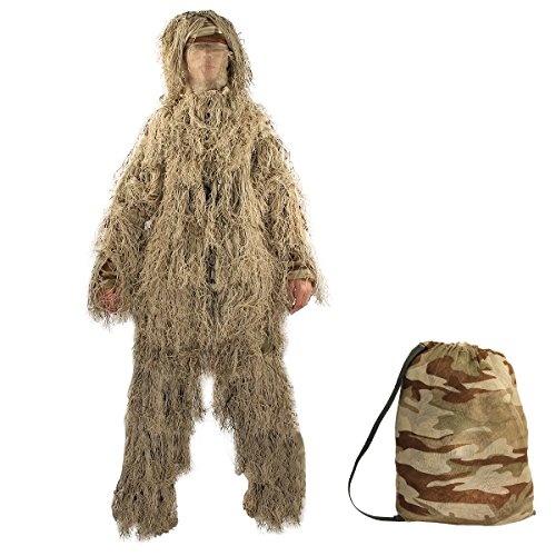 TargetEvo Hunting Ghillie Suit Desert/Woodland Camouflage Clothing includes Jacket Trousers Hood Gun Wrap Drawstring Bag in 5-Piece for Airsoft Halloween Prank ()