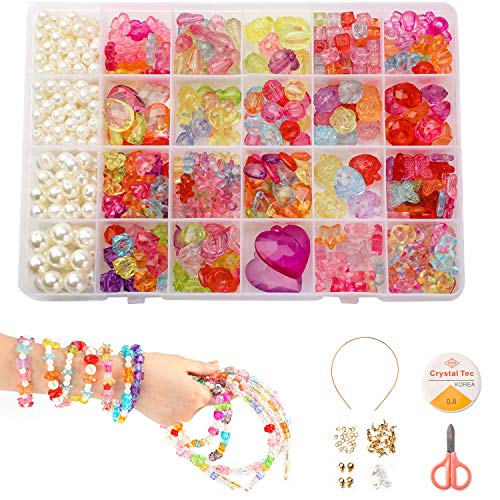 Phogary Children DIY Beads Set(500pcs), DIY Bracelets Necklaces Beads Crystal Beads in Shapes of Raindrop, Heart, Flowers for Jewellery Making Bead Necklace Bracelet Making Kit Gift Kit for Girls