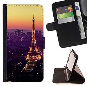 For HTC ONE A9 Tour De Purple Tower Paris Vibrant Style PU Leather Case Wallet Flip Stand Flap Closure Cover