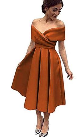 Womens Off Shoulder A-Line Short Prom Dresses Tea-Length Satin Evening Party Gowns