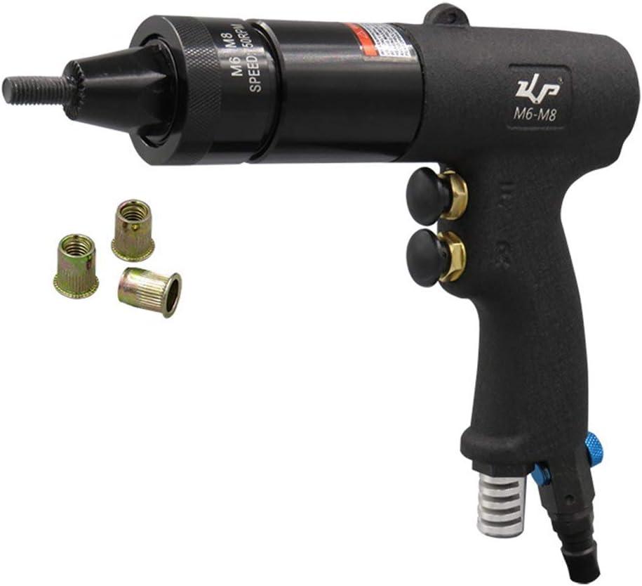 Neumática pistola de remachado, Grado Industrial remachado tuerca pistola neumática Remachadora Tirando del silenciador del arma del casquillo M6-M8,1.4kg Air Pull Rivet Nut Gun