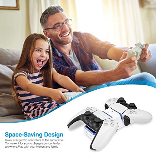 Powerextra Caricatore di Controllo per PS5 - Stazione di Ricarica per Caricatore doppio Playstation 5 Compatibile con Controller DualSense Playstation 5 con Indicatore LED - Ricarica di Type - C
