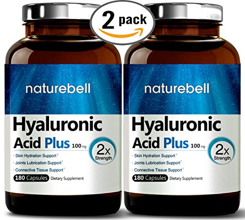 Maximum Strength Hyaluronic Acid, 100mg,180 Capsules, Powerfully Supports Skin Hydration & Joints Lubrication. Non-GMO and Made in USA. (2 Pack)
