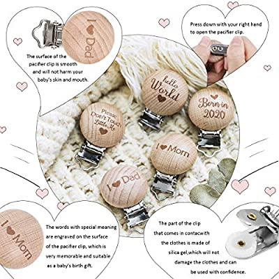 5pcs Organic Wooden Lettering Pacifier Clip Personalized Pacifier Holder Chewable Infant DIY Nursing Accessories Stainless Steel Metal Head Smooth Clip Montessori Sensory Toys for Boys and Girls: Toys & Games