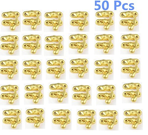 BaiJia 50 Pieces Swing Lock Clasp Swing Bag Clasp Lock Box Latch Closure Chest Suitcase Case Swing Hook Clasp (Gold)
