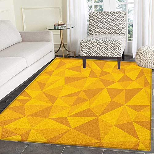Yellow Print Area Rug Abstract Triangular Cubic Unusual Shaded Shapes Patterns Stylized Mosaic Design Indoor/Outdoor Area Rug 3'x4' Yellow Orange -