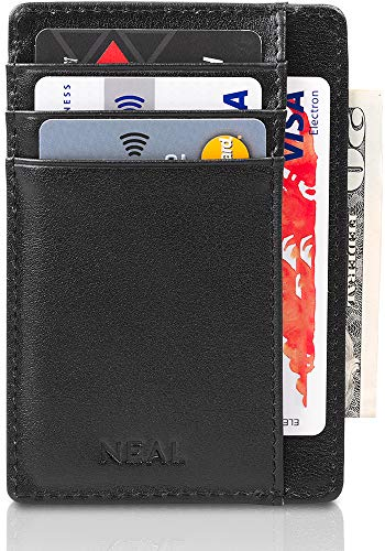 NEAL Slim Front Pocket Wallet, RFID Blocking, Top Grain Leather Thin Card Holder (Best Card Holder Wallet 2019)
