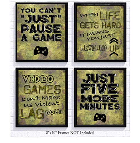 Video Game Themed Art Print Room Wall Decoration (Set or Four) Gamer (Camo) (X Games Comforter)
