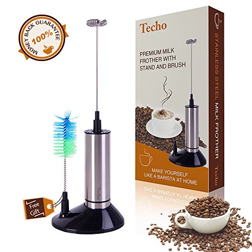 TECHO Battery Powered Stainless Steel Handheld Milk Frother Wand with Stand and Brush (Milk Frother Battery Operated)