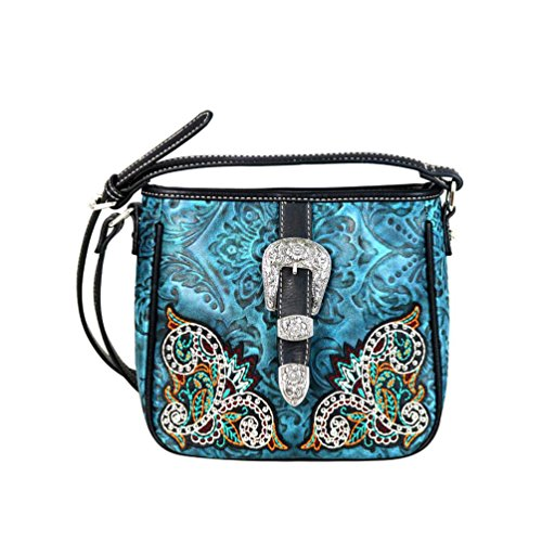 Buckle MW633 Handbag Montana Embossed Bag Embroidered West Crossbody Floral 8360 Turquoise ppqIR
