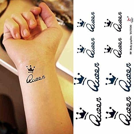Zokey impermeable tatuaje temporal inglés inglés corona de reina ...