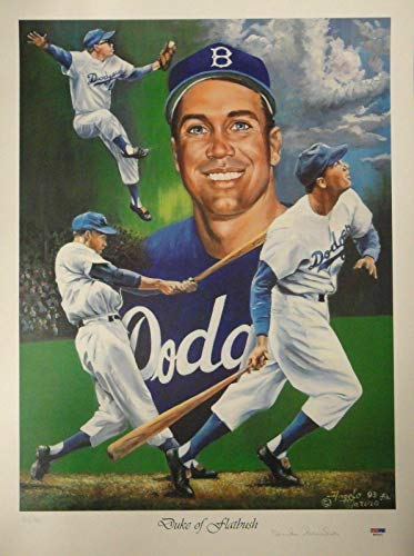 Duke Snider Hand Signed Autographed 18x24 Signed Poster Duke of Flatbush - PSA/DNA Certified - Sports Memorabilia