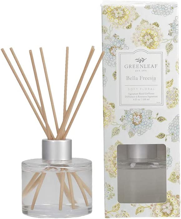 Greenleaf Signature Reed Diffuser - Bella Freesia - Lasts Up to 30 Days - Made in The USA