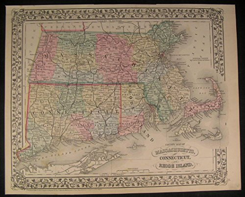 Massachusetts Connecticut Rhode Island 1871 antique decorative hand color map