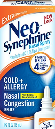 Neo-Synephrine Nasal Spray for Cold & Sinus Relief, Extra Strength, Powerful Relief, Pharmacist Recommended, 0.5 Fl Oz