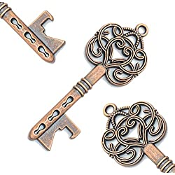 60pcs Vintage Skeleton Key Bottle Openers Beer Partners Place Card Keys Wedding Party Favor For Anniversary Graduation Party (Antique Copper)