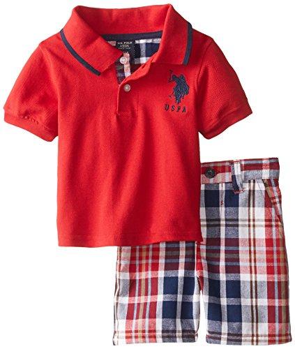 U.S. Polo Assn. Baby-Boys Newborn Plaid Trim Pique Polo and Short, Engine Red, 6-9 Months