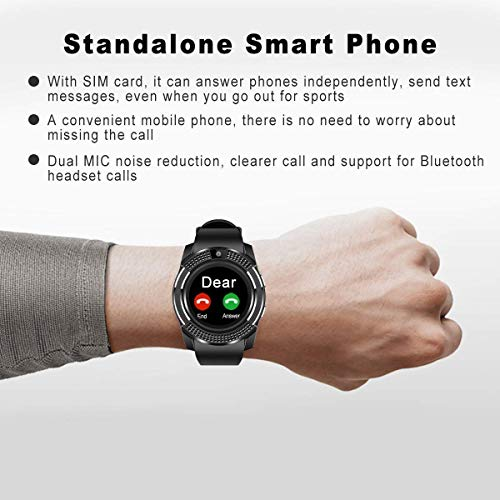 RitEmart RitFit V8 Smart Watch 3G/4G Sim Card Supported with Bluetooth Security Camera Memory Card Slot Sweat Proof Fitness Activity Tracker Health Monitor Gadget Black Strap (Black)