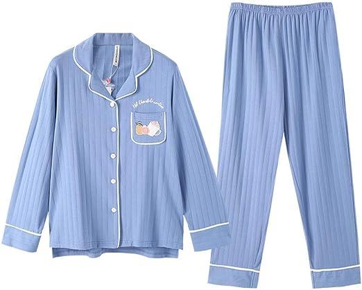 lxylllzs Pijama Mujer Raso Invierno,Pijama de Manga Larga de algodón primaveral para Mujer, cárdigan Talla Grande Cute Home Service-XL,Pijamas Mujer Sedoso Manga: Amazon.es: Hogar