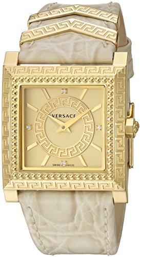Versace Women's VQF030015 DV-25 Analog Display Swiss Quartz Beige Watch