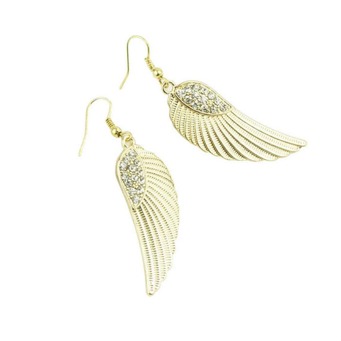 Veodhekai Women Earring Rhinestone Angel Wings Earrings Girls Jewelry Fashion Evening Stud Earrings (Free, Gold)