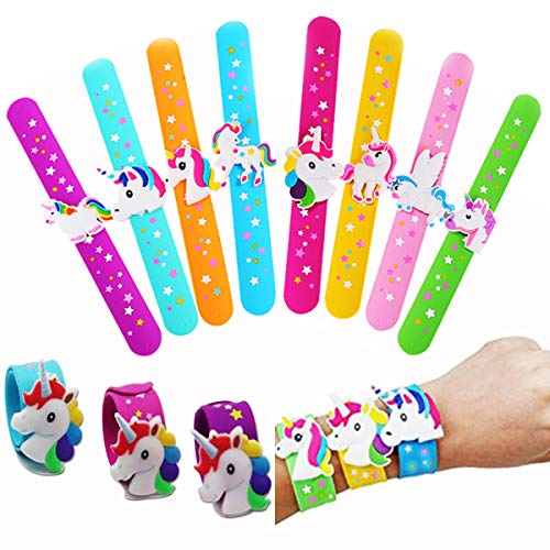 PartyYeah Unicorn Slap Bracelet Silicone Wristbands Unicorn Party Supplies Kids Party Favors Decor Novelty Toy School Prize Gifts Children Goodie Bag Fillers (Type 6 - 8Pcs) by PartyYeah