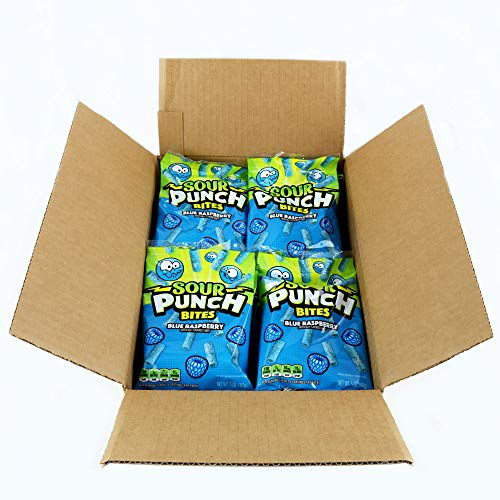 Sour Punch Bites, Sweet & Sour Blue Raspberry Flavor, Chewy Candy, 5oz Bag (12 Pack) (Blue Raspberry Sour Punches)