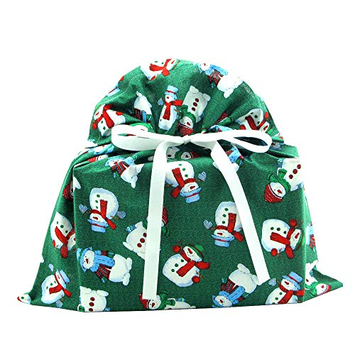 Snowmen on Green Reusable Fabric Gift Bag for Christmas (Medium 17 Inches Wide by 18.5 Inches High) ()