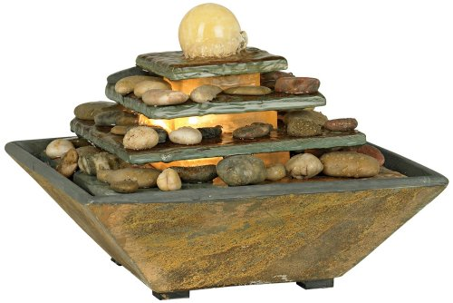 Four Tiers Feng Shui Copper and Slate 9'' High Table Fountain by John Timberland