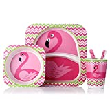 YQSMB 5Pcs Lot Kids Tableware Set Bamboo Dish with Bowl Cup Spoon Fork Animal Children's Dinnerware As A Gift Safe Plates for Children