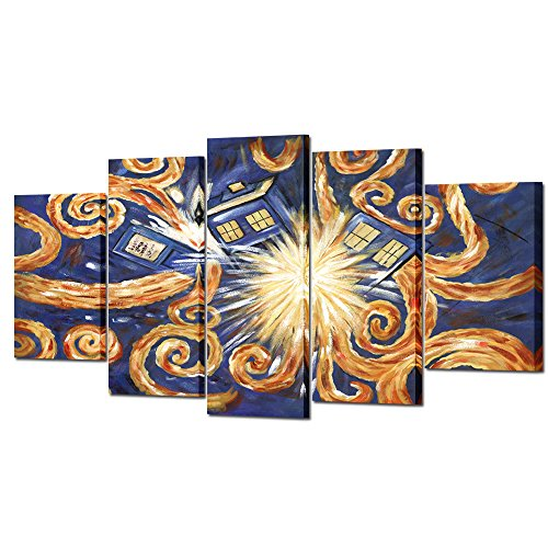 VVOVV Wall Decor Famous Wall Art Doctor Who Van Gogh's Exploding Tardis Pattern 5 Pieces Large Canvas Oil Painting Printed on Canvas Framed Artwork Canvas Prints for Home Decoration Ready to Hang by VVOVV Wall Decor