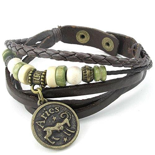 KONOV Womens Leather Bracelet Adjustable