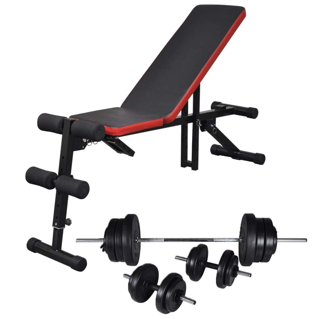VidaXL Trainingsbank Einstellbar Langhantel Kurzhantel Set 60,5kg Hantelbank