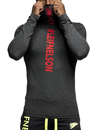 LEIF NELSON GYM Herren Fitness Rollkragen Sweatshirt T-Shirt Langarm Trainingsshirt Training LN6306; Grš§e L, Anthrazit-Rot