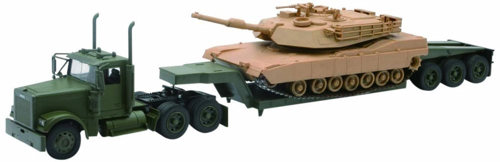 1c0d4ccf267851 Amazon.com: New Ray US Army Freightliner Lowboy w/ M1A1 Abrams Tank, Green  & Tan SS-61285 - 1/32 Scale Model Military Trailer: Toys & Games