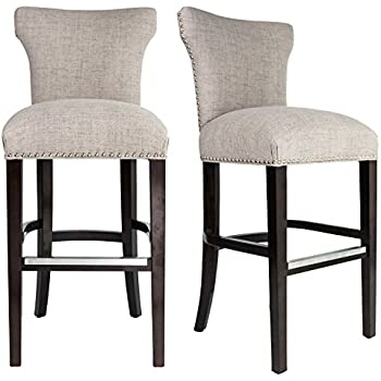 Sole Designs Bella Collection Modern Upholstered Bar Stool Chair With  Concave Back And Hand Applied Nail Head Trim, Gray/Black, Single Barstool