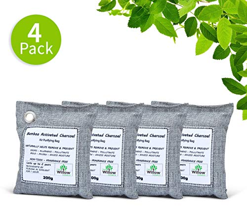 - Willow Source Air Purifying Bags - All Natural - 200g Moso Bamboo Activated Charcoal Deodorizer - Unscented Air Freshener, Odor Eliminator, Car Air Freshener, Absorbs Moisture (4)
