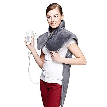 SYR&M Almohadilla Eléctrica para Cuello Y Espalda Manta Eléctrica Espalda Funda Lavable con 3 Niveles Temperatura
