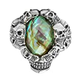 Bishilin Silver Plated Rings for Men Skull with Colorful Stone Partner Rings Silver Size 9