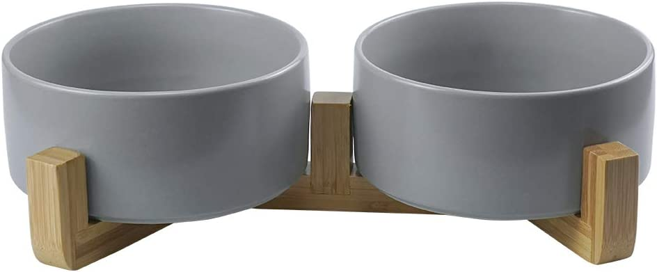 LIONWEI LIONWELI Grey Ceramic Dog Bowls with Wood Stand No Spill Pet Food Water Feeder Cats Small Dogs Set of 2