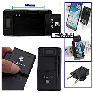 Fashionmobile® Cargador baterias LCD 3-1 para HTC Touch Gruise 09 Universal 33mm - 68mm Battery Charger