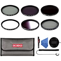 Beschoi 67mm UV Filter, CPL Filter, ND Filter Kit (ND2 + ND4 + ND8), Graduated Grey Color Filter Set, Center Pinch Lens Cap, Cap Keeper Leash, Lens Cleaning Pen,Filter Carry Pouch,Lens Cleaning Cloth