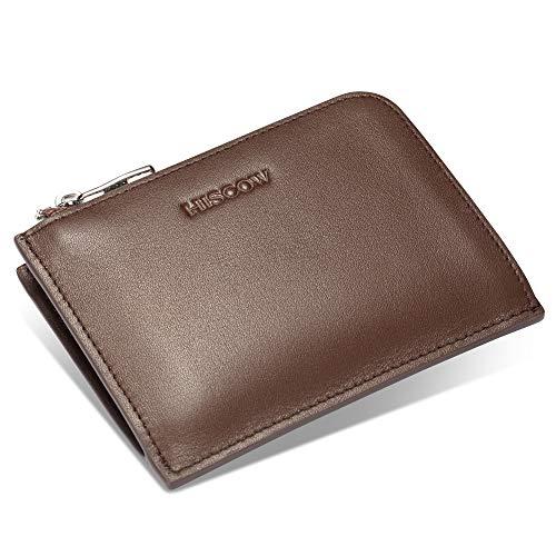 Wallet Brown Calfskin - HISCOW Metal Zipper Slim Sector Wallet with 2 Card Slots   Italian Calfskin (Brown) , Small